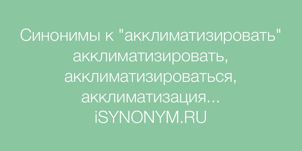 Синонимы слова акклиматизировать