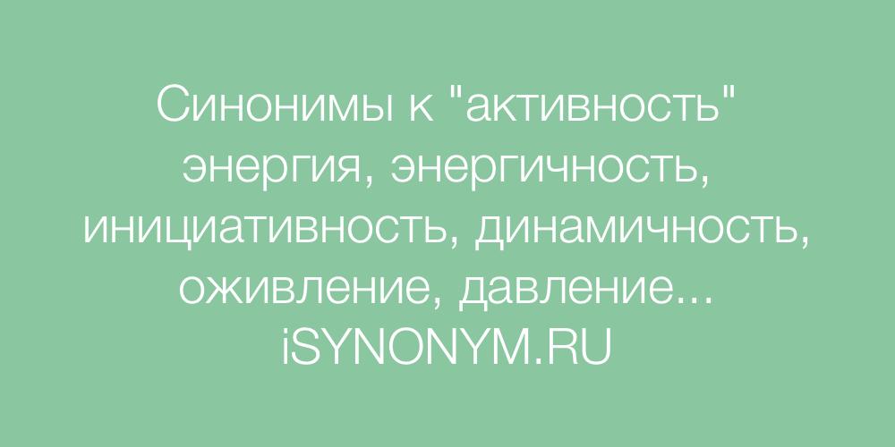 Синонимы слова активность