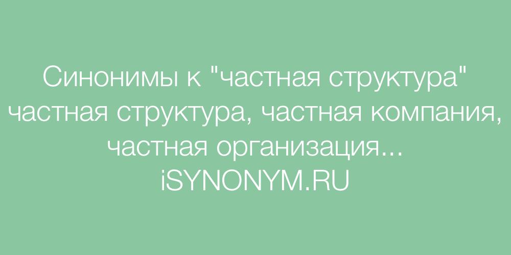 Синонимы слова частная структура