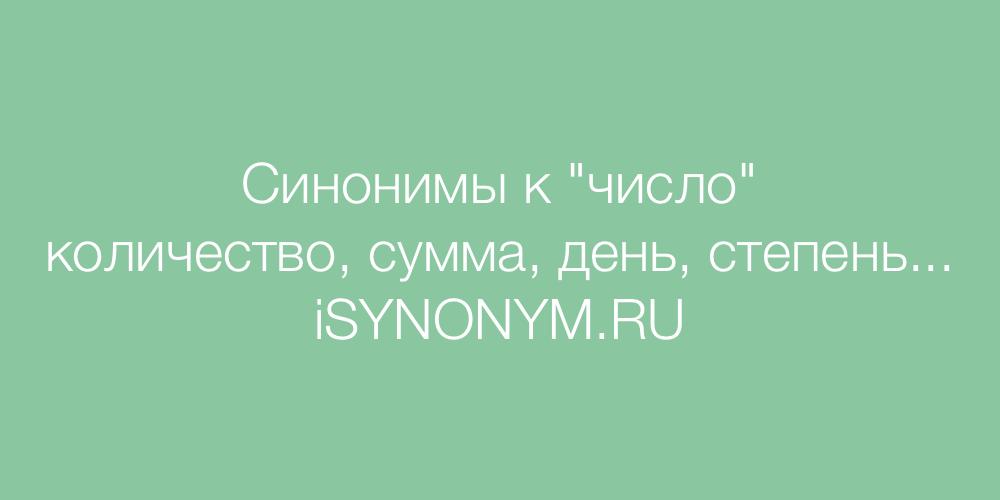 Синонимы слова число
