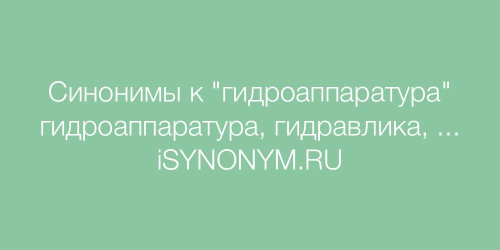 Синонимы слова гидроаппаратура