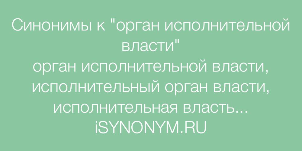 Синонимы слова орган исполнительной власти