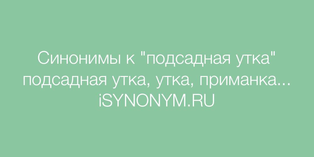 Синонимы слова подсадная утка