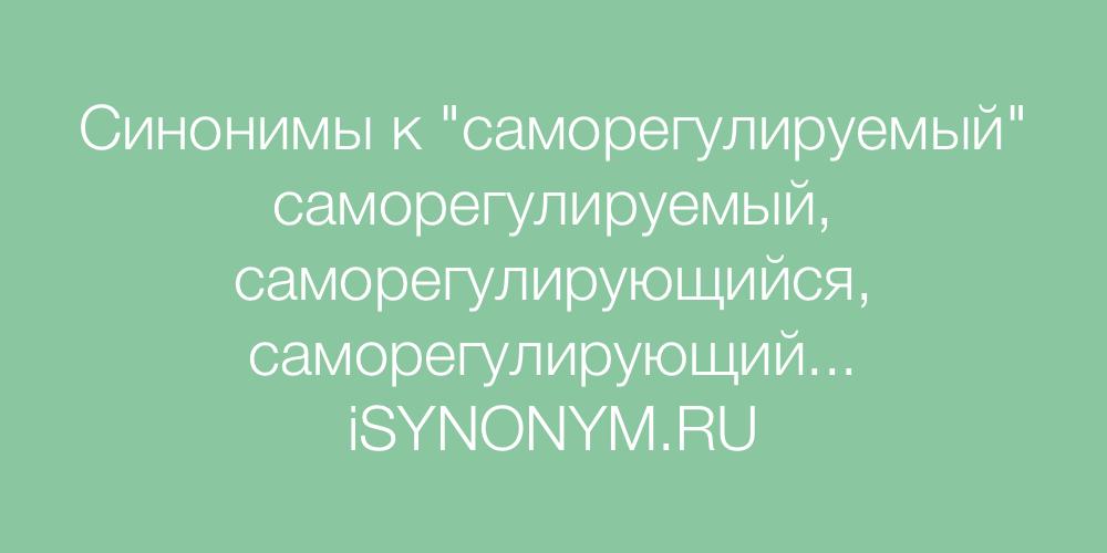 Синонимы слова саморегулируемый