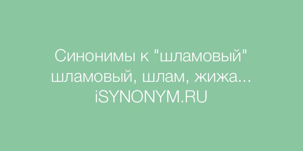 Синонимы слова шламовый