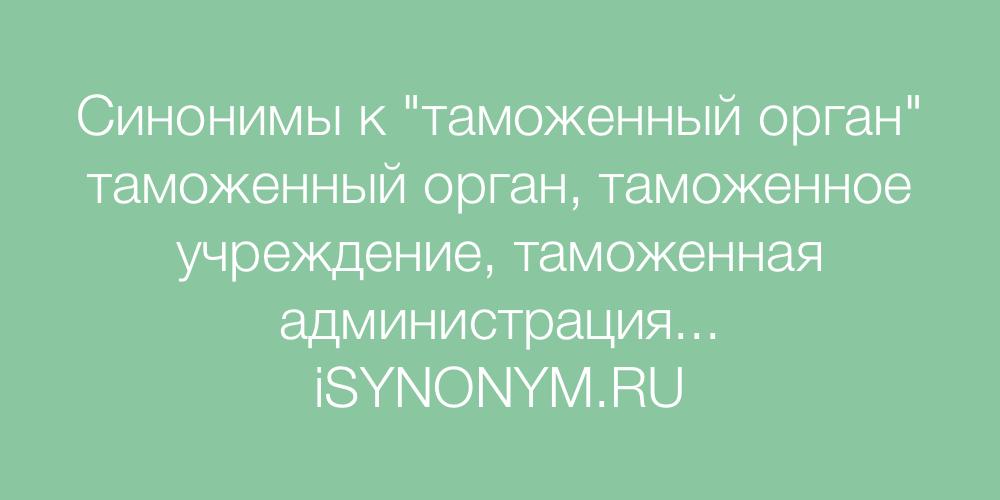 Синонимы слова таможенный орган