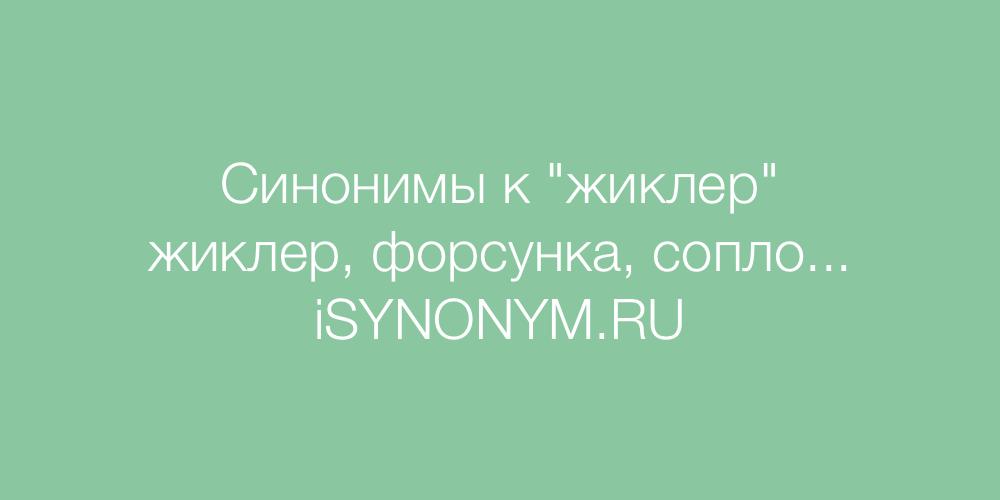 Синонимы слова жиклер